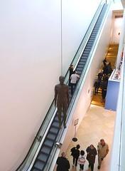 Hanging man ('Object') (Snapshooter46) Tags: npg nationalportraitgallery sculpture sculptor antonygormley escalator london people hangingman object