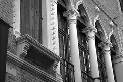 architectural forms, facade, Venice, Italy, Nikon D40, Sigma 18-50mm EX DC MACRO, 10.30.16 (steve aimone) Tags: architecture architecturalforms architecturaldetail detail verticality rhythmicmovements venice italy nikond40 sigma1850mmexdcmacro blackandwhite monochrome monochromatic facade