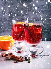 Christmas mulled wine or gluhwein with spices (manyakotic) Tags: advent alcohol anise background beverage christmas cinnamon cocktail drink festive fruit glass glasses glogg gluhwein holiday hot mug mull mulled orange punch red rustic spice star sticks two wine winter wintertime xmas