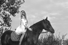 Summer Breeze (ClvvssyPhotography) Tags: horse riding girl horseback woman ride equine equestrian countryside stallion cowgirl cowboy field meadow friendship graceful attractive beautiful nature caucasian blonde elegant white dress brown sky village entertainment peace recreation summer rodeo ranch sunny unitedstates