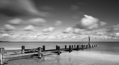 Sea View (Number Johnny 5) Tags: wood tamron d750 2470mm east long structure sea black clouds noir beach imanoot monochrome anglia exposure breakers defences sky gorleston groyne nikon norfolk white filter advantix tiffen