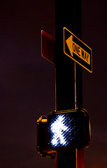 Walk This Way (Carolyn Marshall Photography) Tags: signs signage trafficsigns oneway walkthisway crosswalk crossingsign onewaysign signphotography trafficsignatnight nighttraffic walk walkingsign neon neonsign carolynmarshall marshall