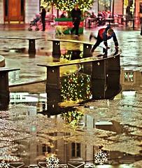 La triste allegria natalizia (Riccardo Orti) Tags: pentaxk5ii pentax50mmf18 persone street candid riflesso alberodinatale addobbi trieste piazzaunita piazzagrande panchina movimento salto pioggia pozzanghera natale
