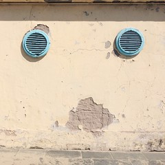 Faade (Peter.Bartlett) Tags: blue wall facade vents dilapidated iphone5s mobilephone cellphone vscocam italy square viareggio texture peterbartlett abstract symmetrical