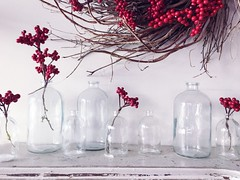 Happy Saturday (life stories photography) Tags: 2016 december texas waco silos magnolia red berries stilllife mantle iphone winter christmas glass vases wreath