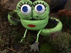 Amorous Amphibian (Munki Munki) Tags: seaham countydurham tyreart tyres rubber paint green temptress frog paintedlady falseeyelashes
