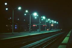 Morning Travel (marq4porsche) Tags: bart travel train tracks subway station early morning night traveling light streetlights lights dark contrast kodak film ektar 100 canon f1 50mm 14 fd mount