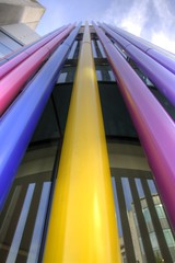 Take me to the sky (Tony Shertila) Tags: 20150913142436 centralward england gbr geo:lat=5340540185 geo:lon=298570097 geotagged liverpool unitedkingdom europe britain merseyside city building architecture structure colour color pipe yellow reflection window weather day partly cloudy sky outdoor