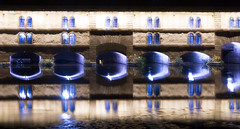 City's got blue eyes - HWW! (lunaryuna) Tags: france lalsace strasbourg architecture building dam bridge fortress barragevauban night nightlights nightphotography nocturnalphotography canal reflections distortions seeingdouble urbanconstructs citynights le longexposure beauty historicarchitecture windows lunaryuna