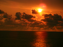 Sunset off Nicaragua (rossendale2016) Tags: ocean pacific cruising ripple far horizon distance photogenic colours fantastic high cloud sitting relaxing wine drinking balcony sailing clouds red orange millpond calm cruise sea sunset nicaragua