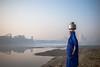 MYI_6387 (yaman ibrahim) Tags: india agra nikon d3 tajmahal yamuna morning water saree mis misty