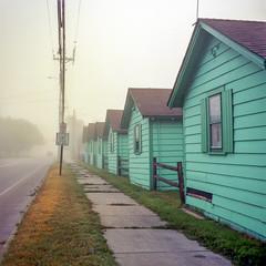 (Patrick J. McCormack) Tags: hasselblad 500cm kodak ektar film 120 6x6 fog mist morning motel street