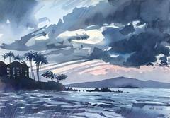 2016 12 05 Maui (lilya_de) Tags: watercolor watercolour aquarelle coloredpencils mixedmedia painting art artwork sky clouds seascape landscape