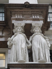 Macys Department Store Caryatids Entrance Statues 2277 (Brechtbug) Tags: macys department store caryatid statues down from empire state building 34th street between broadway 6th 7th avenues herald square new york city caryatids atlantid 2014 nyc 06302014 art architecture gargoyle gargoyles statue sculpture sculptures facade figures column columns stores merchandise buildings atlantids women sisters holding hands woman by sculptor j massey rhind