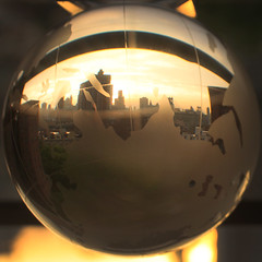 Sunset Globe (thirdblade) Tags: world lighting new york city nyc light sunset reflection brooklyn composition ball project globe warm sphere