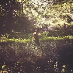 Hideout (jilljustusphotography) Tags: trees portrait woman green nature girl field square landscape outside outdoors 50mm nikon purple dream squareformat dreamy inspire d800 nikond800