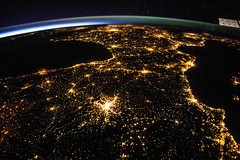 Spain and France at Night (sjrankin) Tags: madrid city france portugal night stars lights spain edited cities nasa citylights limb atlanticocean iss mediterraneansea earthslimb iss040 5august2014 iss040e81332