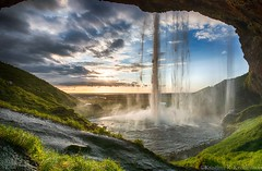 Waterfall Sunset (Kristinn R.) Tags: sunset sky sun water grass clouds waterfall iceland nikon seljalandsfoss d3x nikonphotography kristinnr