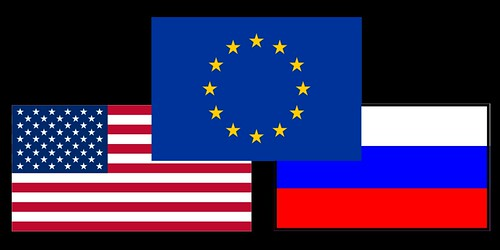 From flickr.com: USA EU Russia Flags {MID-150180}