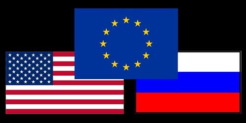USA EU Russia Flags