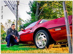 Selfie in the A.M. with a C-4 Vette (Pentax K-x Connecticut Man) Tags: red party house chevrolet grass car gm photographer adobephotoshop power forsale ride pentax connecticut wheels detroit lawn clarity ct filter photograph adobe whip nik eastside sprint torque v8 sportscar redcar selfie frontend fastcar exoticcar pentaxkx dreamcar meriden adobelightroom 365daysproject redsportscar corvette1989 justpentax topazadjust nikplugin pentaxart photoshopcs6 lightroom54 paddockave