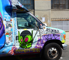Detail of Graffiti Truck in Bushwick, Brooklyn. VERY. GRAFFER POWER.   ABE LINCOLN Jr.  Stickers. (Allan Ludwig) Tags: brooklyn graffiti very stickers bushwick abelincolnjr detailofgraffititruck grafferpower