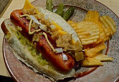 Happy National Hotdog Day (ricko) Tags: food cheese lunch hotdog sauerkraut july23 meat onions relish mustard pickles potatochips bun nationalhotdogday mdpd2014 mdpd1407