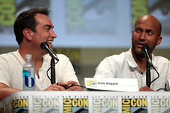 Rob Riggle & Keegan-Michael Key (Gage Skidmore) Tags: california michael san key comic cops lets diego center rob convention be keegan nina damon con 2014 wayans riggle dobrev