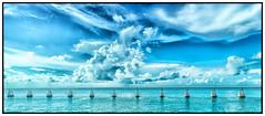 Midday in the Florida Keys (3 of 1) (Lucky Snap) Tags: bridge blue summer water clouds pentax minimal floridakeys k3 beautifulcapture pentaxart pentaxflickraward