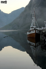 Strange stillness at Midnight in Hamny (VandenBerge Photography) Tags: mountains water norway canon europe ship ngc fishingboat lofoten stillness midnightsun