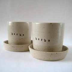 Herb Planters (Jude Allman) Tags: ceramic ceramics herbs handmade crafts craft oatmeal pot pots jude clay pottery herb folksy esty allman