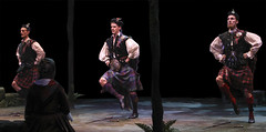(L to R) Adam Lendermon (Sword Dancer), Luke Hawkins (Harry Beaton) and Brian Steven Shaw (Sword Dancer) in Brigadoon, produced by Music Circus at the Wells Fargo Pavilion August 5-10, 2014. Photos by Charr Crail.