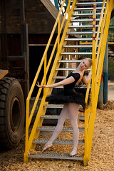 Jen 3 (LongInt57) Tags: girls people ballet woman brown white canada black green yellow metal stairs person women industrial bc dancers modeling okanagan models steps teens posing tights equipment machinery vehicles kelowna railings modelling tutu sawmill woodchips sawdust leotards