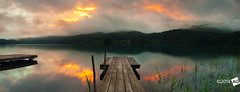 I n D i s t a n c e (AnthonyGinmanPhotography) Tags: panorama lake japan sunrise jetty nagano naganoprefecture novoflex aokiko olympus1454mmf28 olympuse30