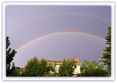 Double The Rainbow, Double The Luck! (bigbrowneyez) Tags: new trees sky ontario canada nature beautiful rainbow arch colours ottawa sunday natura cielo precious luck colourful lovely mygarden magical colori doublerainbow arcobaleno fortuna domenica bello overtherainbow bellissimo miogiardino flickrlucky doubletherainbowdoubletheluck