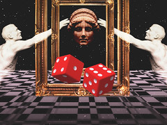 Retro 1 (nono997) Tags: red brussels sky white dice black art statue photoshop painting stars grid artist floor belgium head space internet perspective bruxelles illusion galaxy frame marble nono checker aesthetic tumblr