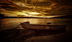 Silent Lake Gold (Izzi) Tags: sunset ontario canada water clouds golden canoe silentlake