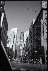 downtown san francisco (Garrett Meyers) Tags: street city sky urban film 35mm photography san downtown cityscape photographer twin line peaks redding ilford fp4 fransisco t4 skyscapers garrettmeyers