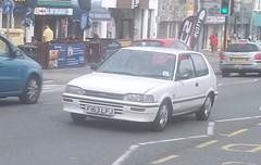 Toyota Corolla (occama) Tags: old uk white car japanese cornwall 1988 toyota hatch corolla f163lfj
