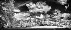 View from Ambleside Panorama small (Scotty Rae) Tags: uk summer england bw monochrome landscape ir blackwhite lakedistrict infrared