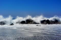 Venice Beach High Surf (--joe) Tags: ocean california beach high rocks surf day waves pacific sunny clear venicebeach crashing