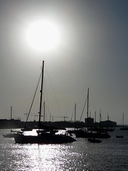 Monochrome Mast Sunset - San Antonio Ibiza (Gilli8888) Tags: sunset sea beach monochrome sanantonio port boats seaside marine harbour ibiza yachts masts santantoni balearicislands balearic
