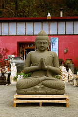 May Peace Be With You (sarahellenspringer) Tags: red sculpture statue big peace arms buddha leg buddhism