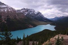 Peyto Lake (Larry Myhre) Tags: peyto lake colorful mountains banffnationalpark alberta canada rockymountains icefieldsparkway canadianrockies bcalbertasept2016