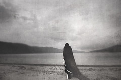the feather collector (followtheravens) Tags: dark darkart darkness fineartphotography creative white wicca wiccan woman bnw blackandwhite nature lake darklings black photo feather feathers