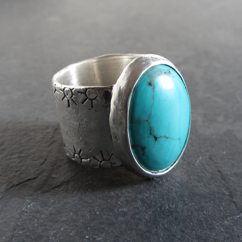 Wide band turquoise ring