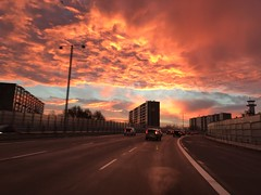 Flaming sunrise over Copenhagen (Ivan Naurholm. thanks, for more than 500.000 views) Tags: 7 iphone colorful flaming yellow orange amazing winter cloudscape burning gold sunrise denmark copenhagen