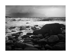 Wave (rockallkalle) Tags: black white seascape sea wave rocks wind