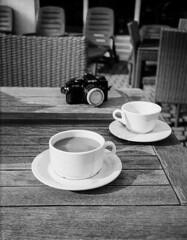 coffee and tea and film (brenkee) Tags: coffee tea camera analog film olympus mju minolta x700 ilford pan100 lc29 selfdeveloped bokeh pointandshoot hotel morning