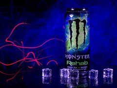 Experimental low light photo shoot - 5 (Tony Worrall) Tags: color cool nice colours colourful shoot shot smoke smokey experimental can monster energy ice cubes icecubes plastic monsterenergy energydrink laser laserlight light lit lights studio studioshoot cloud clouds blue
